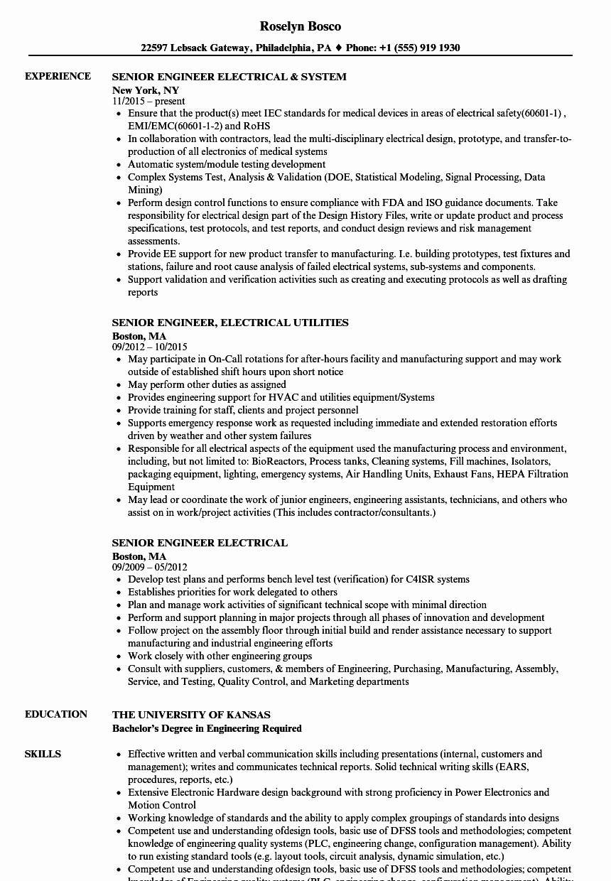 Electrical Engineer Resume Sample Beautiful Senior Engineer Electrical Resume Samples