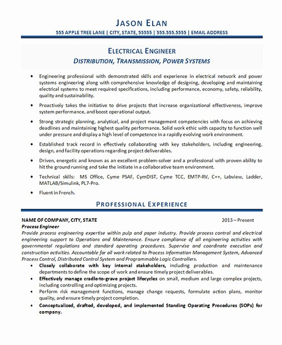 Electrical Engineer Resume Sample Best Of Electrical Engineer Resume Example
