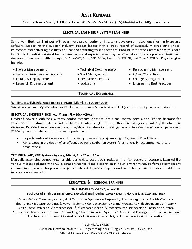 Electrical Engineer Resume Sample Best Of Perfect Electrical Engineer Resume Sample 2019