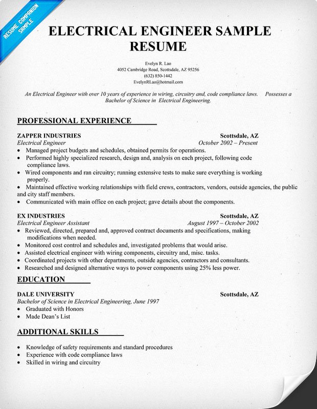 Electrical Engineer Resume Sample Elegant Engineering Resume Examples