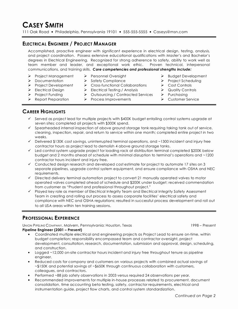 Electrical Engineer Resume Sample Fresh Pin by Manjusha On Ge