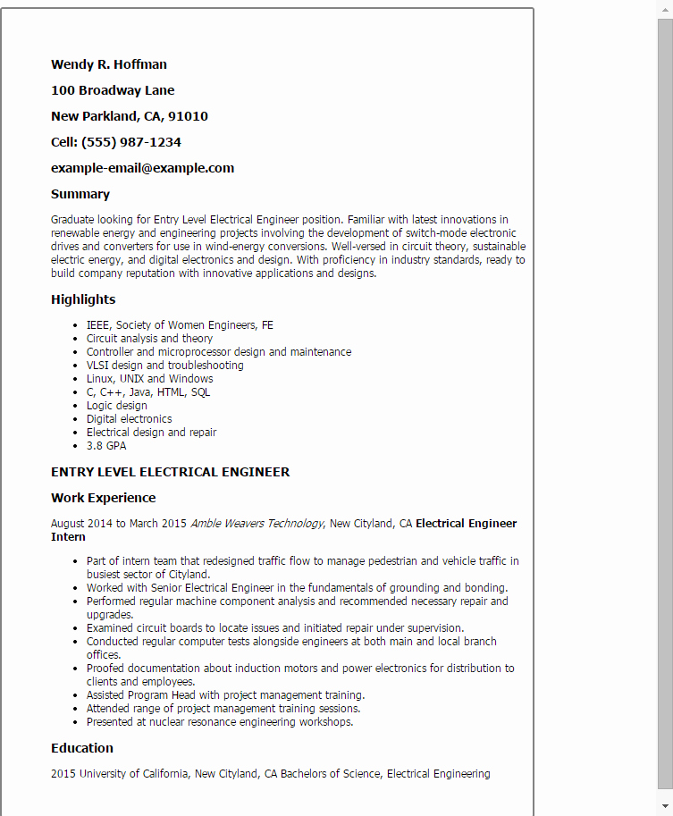 Electrical Engineer Resume Sample Fresh Professional Entry Level Electrical Engineer Templates to