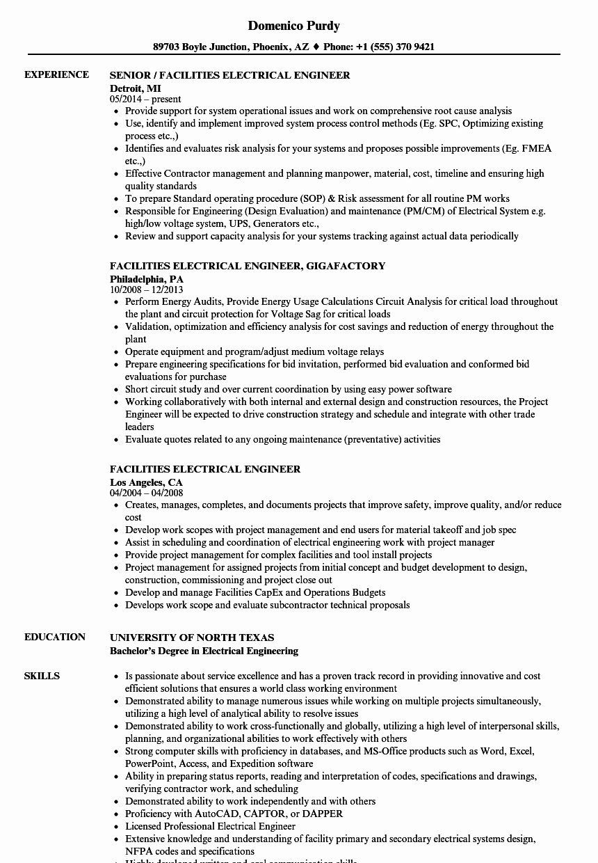 Electrical Engineer Resume Sample Inspirational Facilities Electrical Engineer Resume Samples