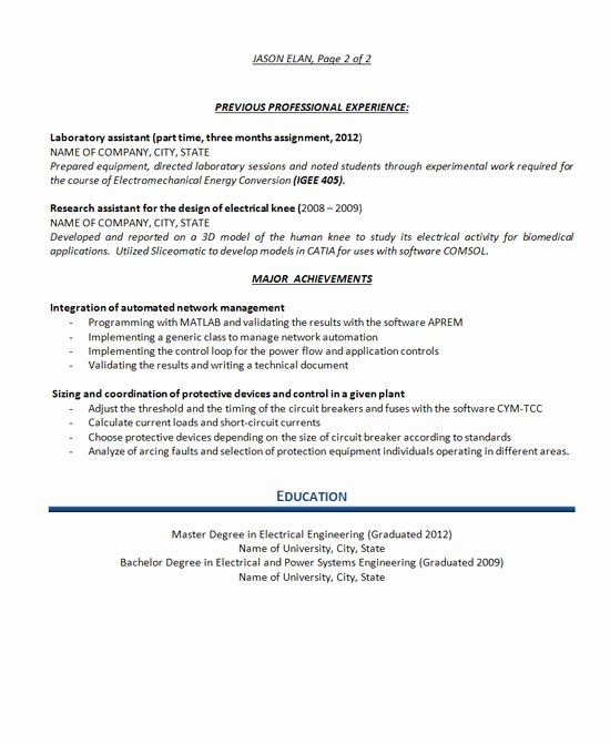 Electrical Engineer Resume Sample Lovely Electrical Engineer Resume Example