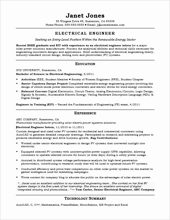 Electrical Engineer Resume Sample Lovely Entry Level Electrical Engineer Sample Resume