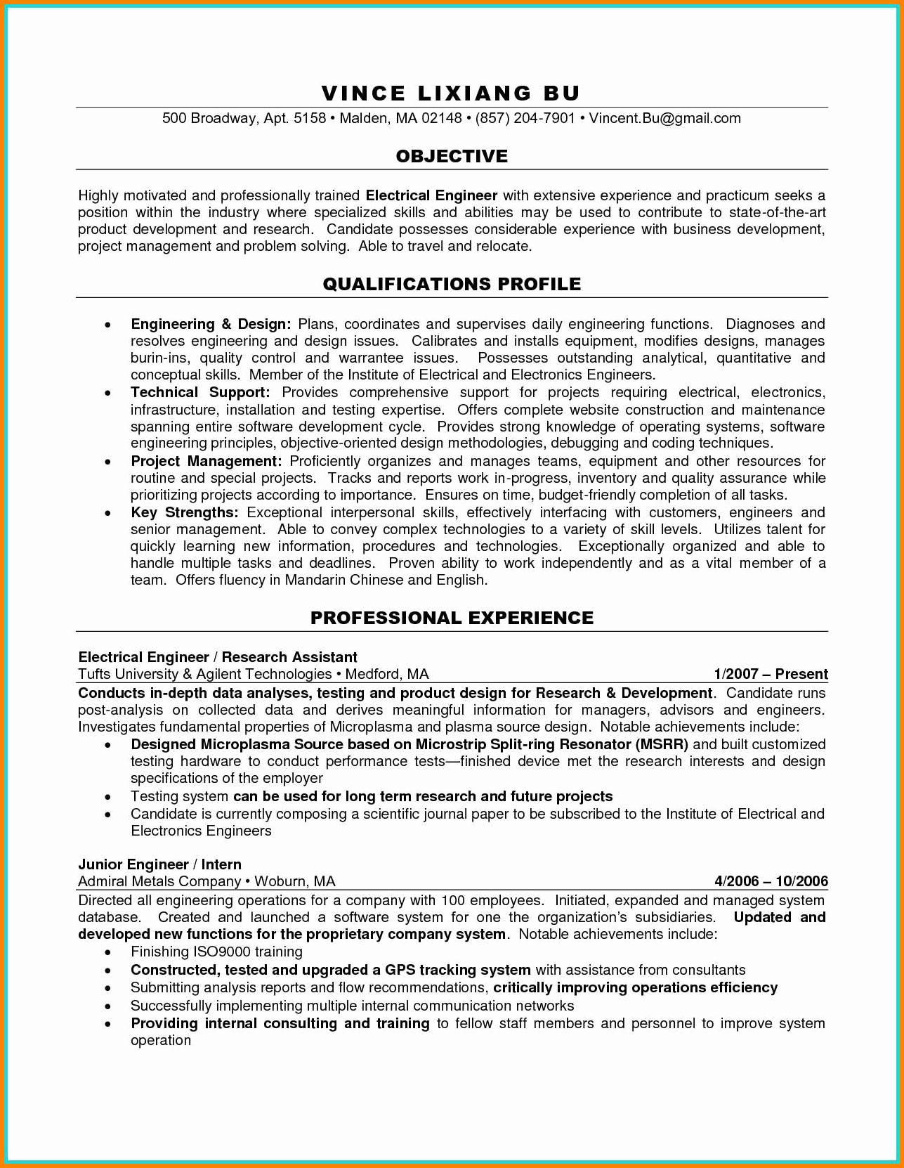9 engineering student cv