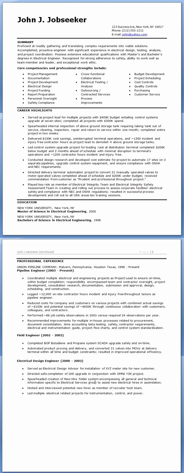 Electrical Engineer Resume Sample New Electrical Engineer Resume Sample Doc Experienced