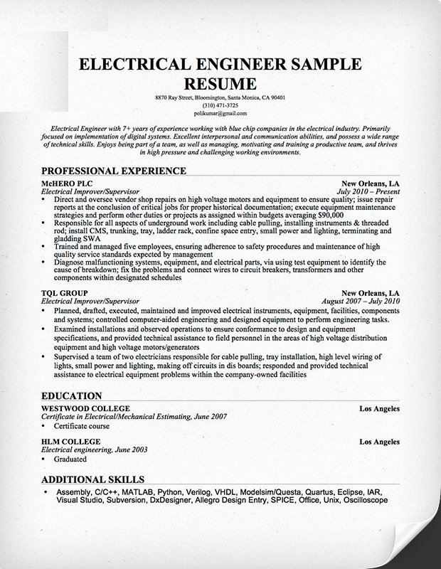 Electrical Engineer Resume Sample Unique Electrical Engineer Resume format