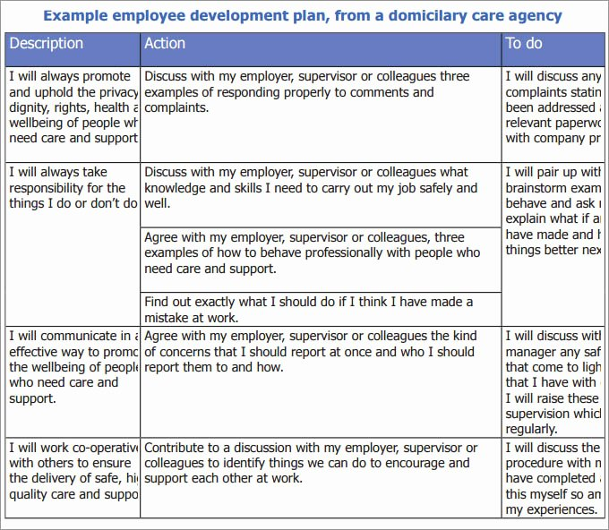 Employee Development Plans Templates Inspirational Employee Development Plan Template