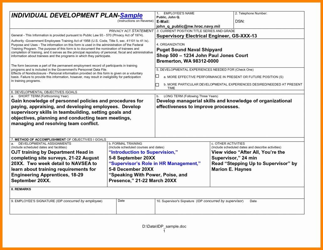 Employee Development Plans Templates New Employee Development Plan Template