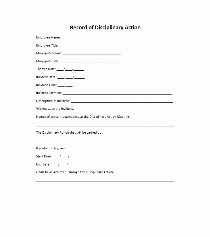 Employee Disciplinary Action form Awesome 40 Employee Disciplinary Action forms Template Lab