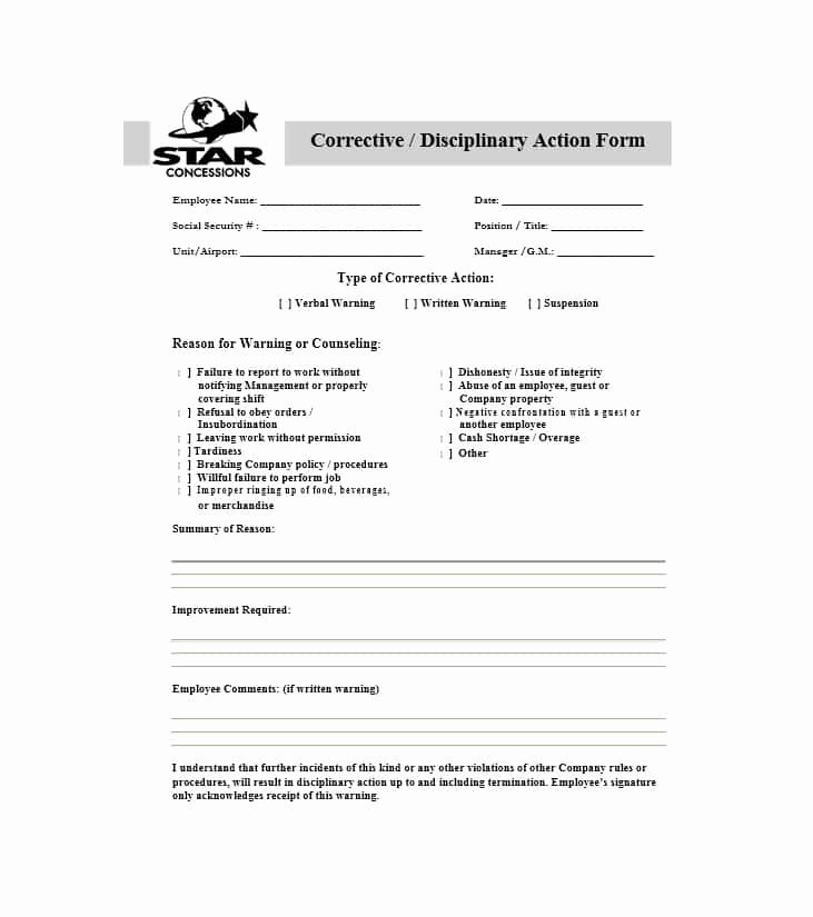 Employee Disciplinary Action form Beautiful 40 Employee Disciplinary Action forms Template Lab