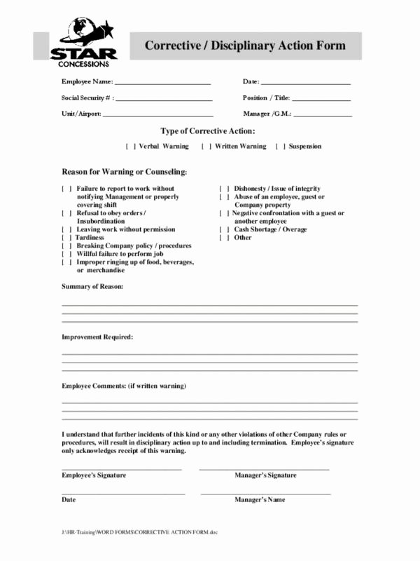 Employee Disciplinary Action form Best Of Employee Disciplinary Action form