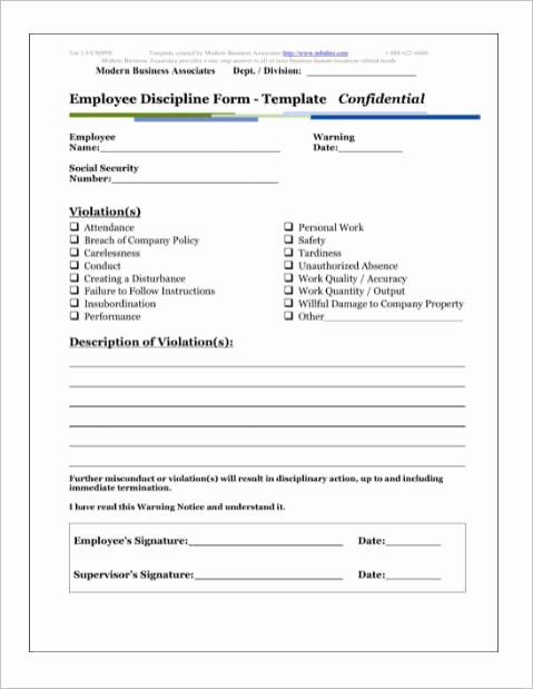 Employee Disciplinary Action form Fresh Employee Discipline form