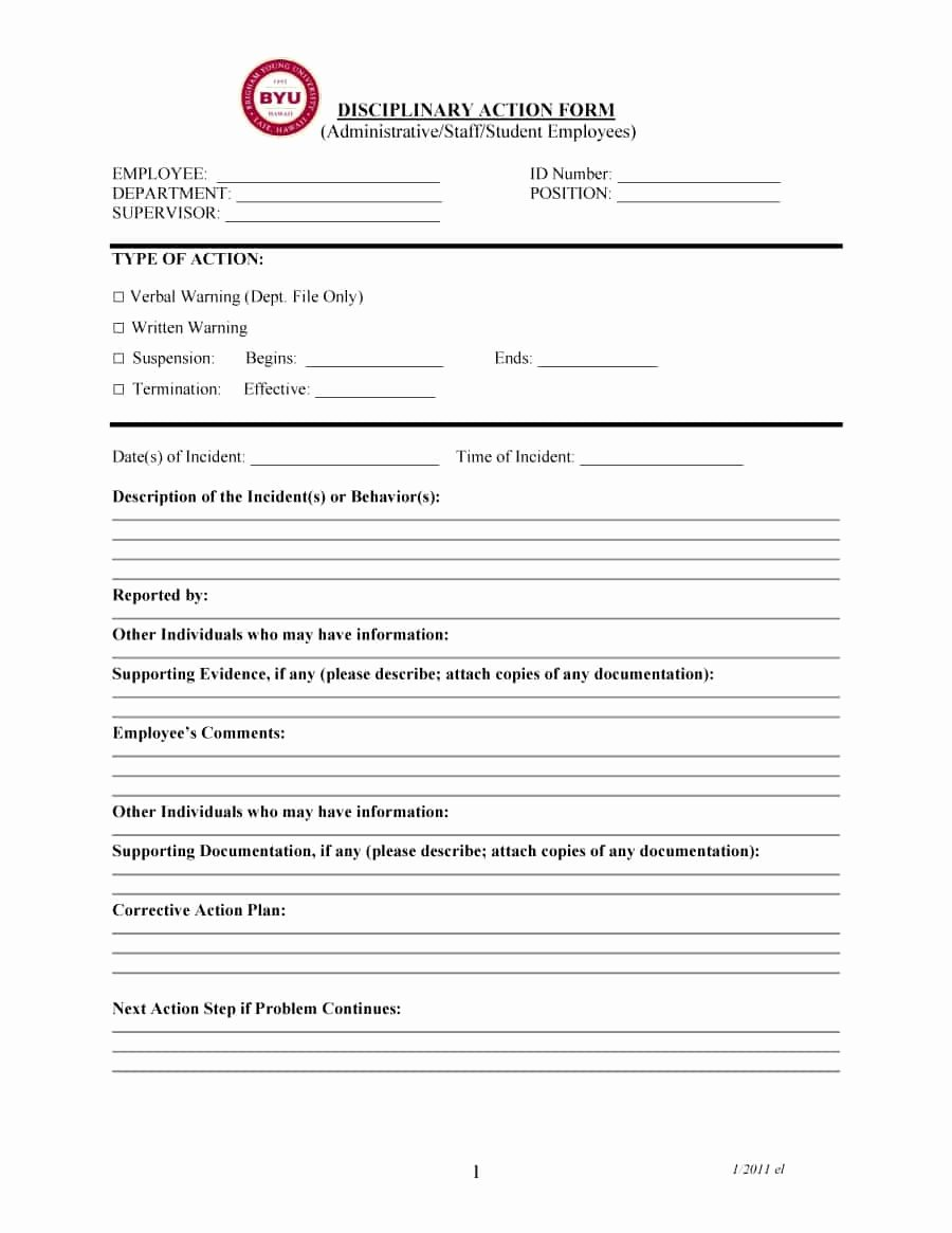 Employee Disciplinary Action form Inspirational 46 Effective Employee Write Up forms [ Disciplinary
