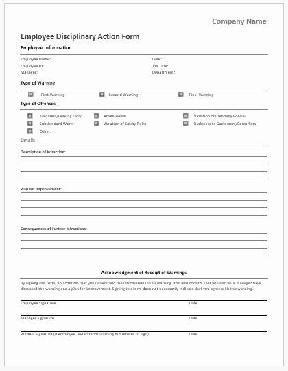 Employee Disciplinary Action form Inspirational Employee Vacation Request form for Ms Word