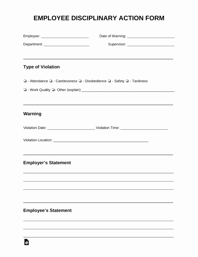 Employee Disciplinary Action form Inspirational Free Employee Disciplinary Action Discipline form Pdf