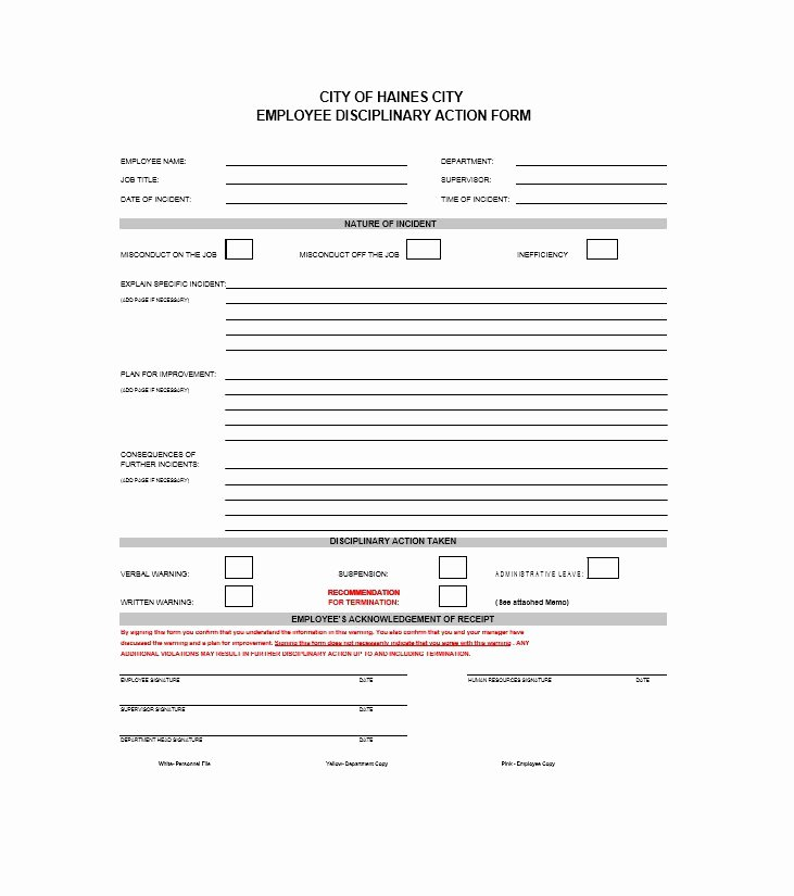 Employee Disciplinary Action form New 40 Employee Disciplinary Action forms Template Lab