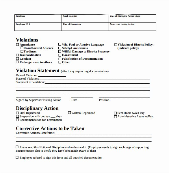 Employee Disciplinary Action form New 40 Employee Write Up form Templates [word Excel Pdf]