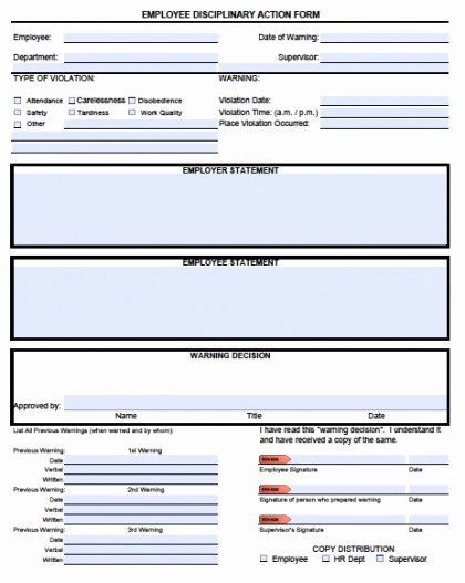Employee Disciplinary Action form New Download Employee Write Up forms