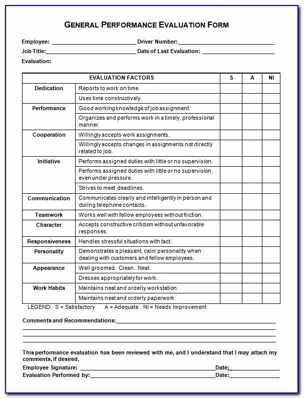 Employee Evaluation form Template Word Beautiful Free Employee Evaluation forms