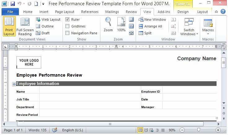 Employee Evaluation form Template Word Best Of Free Performance Review Template form for Word 2007