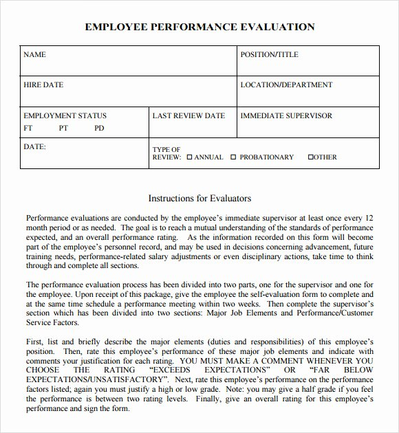 Employee Evaluation form Template Word Elegant Free 7 Performance Evaluation In Samples Templates Examples