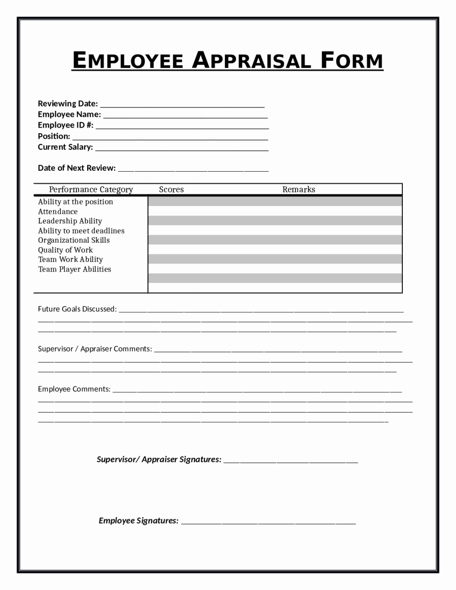 Employee Evaluation form Template Word Fresh 2019 Employee Evaluation form Fillable Printable Pdf