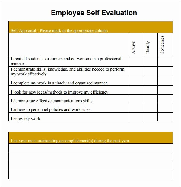 Employee Evaluation form Template Word Inspirational Free 14 Sample Employee Self Evaluation form In Pdf