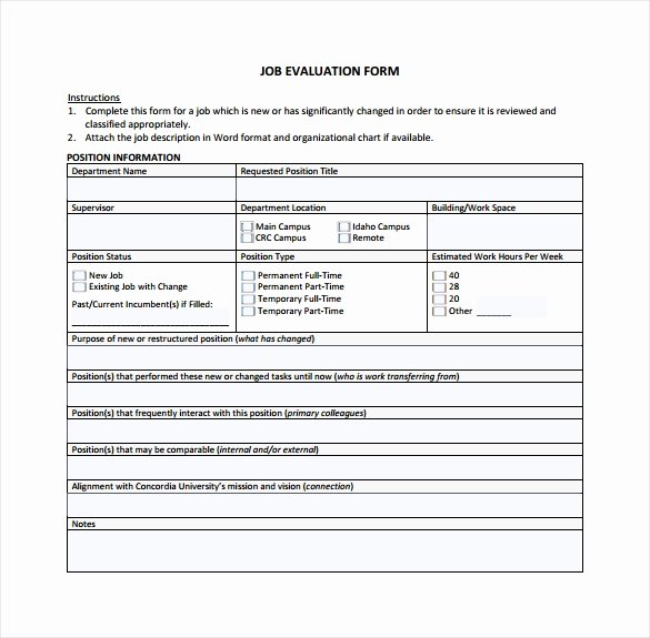 Employee Evaluation form Template Word Inspirational Sample Job Evaluation 9 Documents In Word Pdf