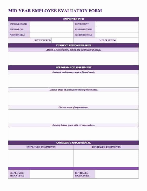 Employee Evaluation form Template Word Luxury Free Employee Performance Review Templates