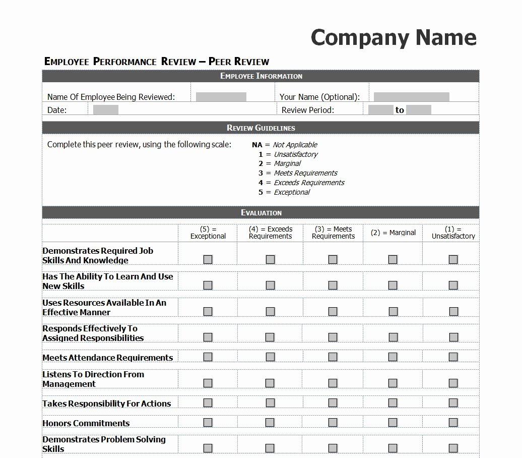 Employee Performance Evaluation Template Awesome Employee Evaluation Template Excel Images