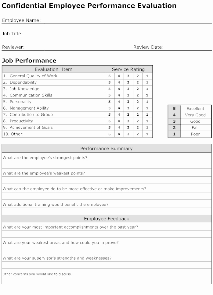 Employee Performance Evaluation Template Awesome Employee Performance Evaluation form Template Connections