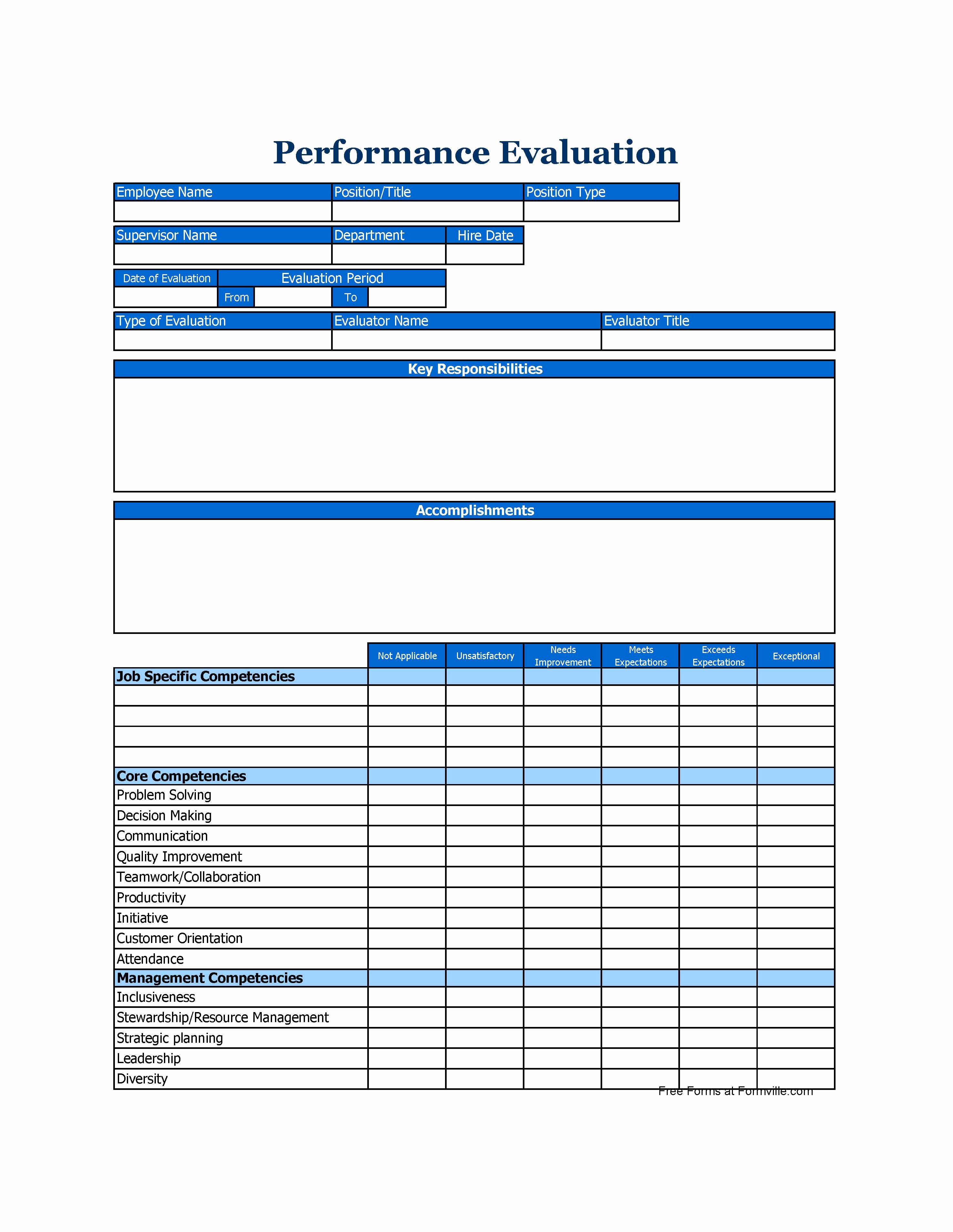 Employee Performance Evaluation Template Elegant 46 Employee Evaluation forms & Performance Review Examples