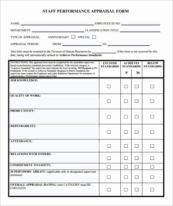 Employee Performance Evaluation Template Elegant Employee Evaluation form Sample – 13 Free Examples format