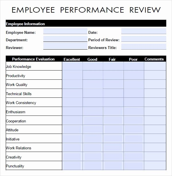 Employee Performance Evaluation Template Elegant Free 9 Sample Performance Evaluation Templates In Pdf