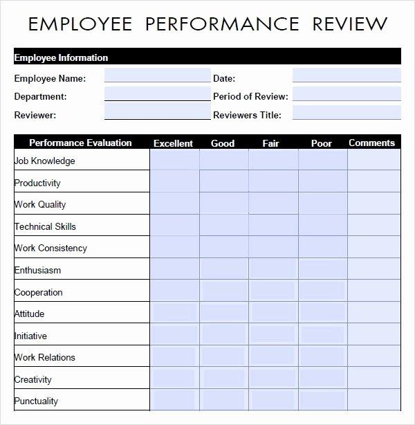 Employee Performance Evaluation Template Elegant Free 9 Sample Performance Evaluation Templates In Pdf
