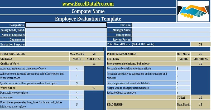 Employee Performance Evaluation Template Fresh Download Employee Performance Evaluation Excel Template