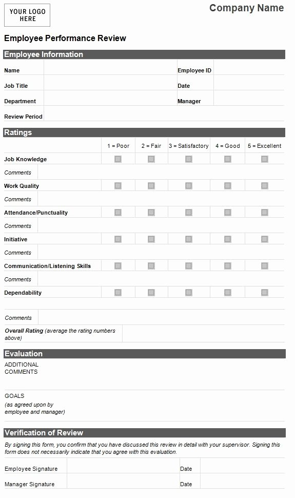 Employee Performance Evaluation Template Fresh Employee Evaluation Template