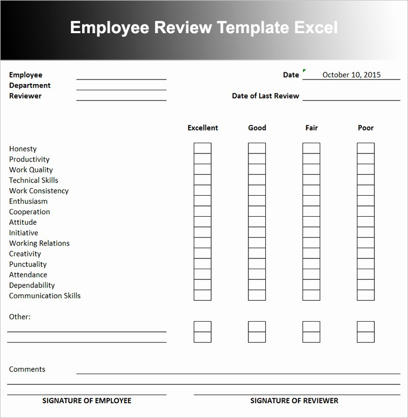 Employee Performance Evaluation Template Inspirational Employee Performance Review Template