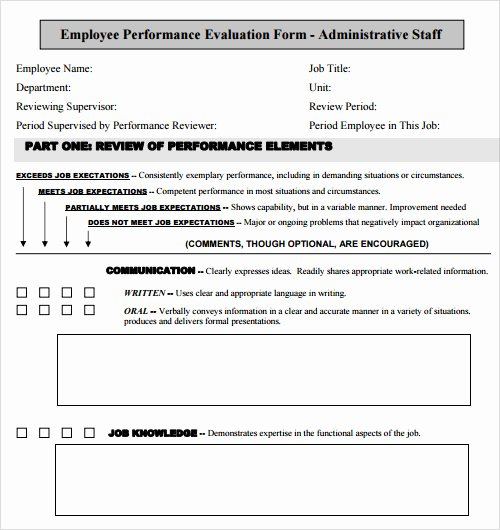 Employee Performance Evaluation Template Inspirational Free 13 Evaluation Samples In Pdf