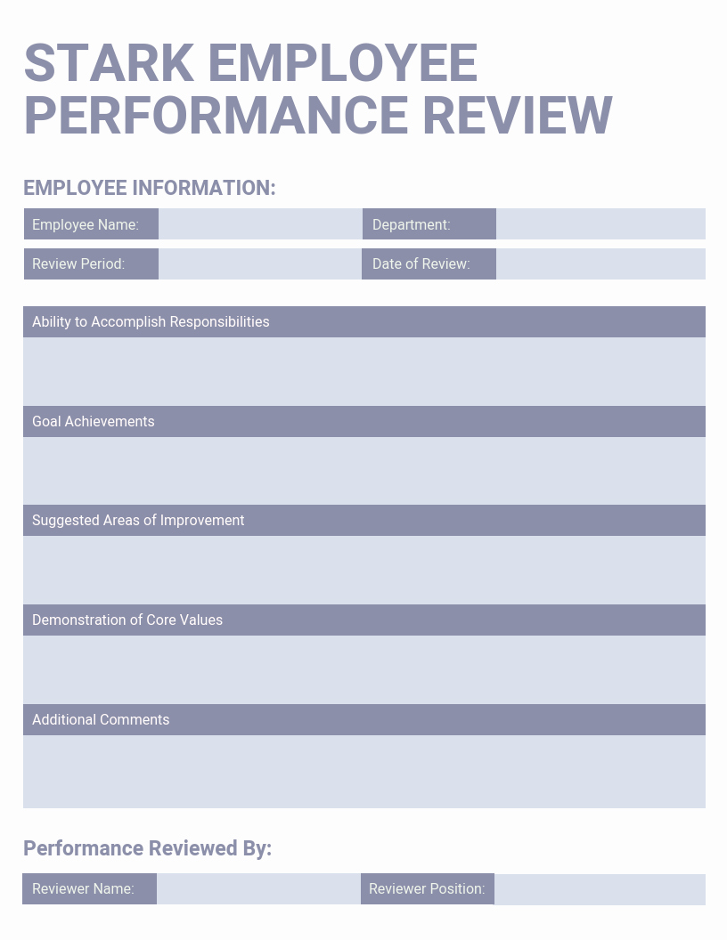 Employee Performance Evaluation Template Inspirational Light Employee Performance Review Template Template Venngage