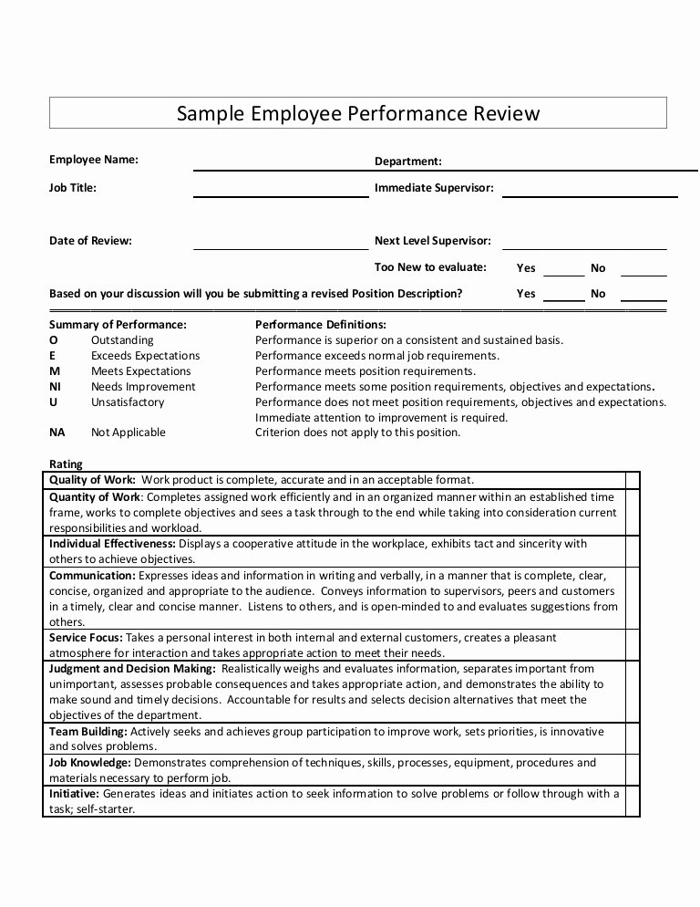 Employee Performance Evaluation Template Inspirational Sample Employee Performance Review