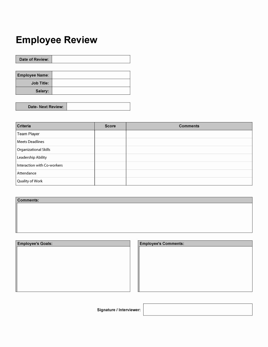 Employee Performance Evaluation Template Lovely 46 Employee Evaluation forms & Performance Review Examples