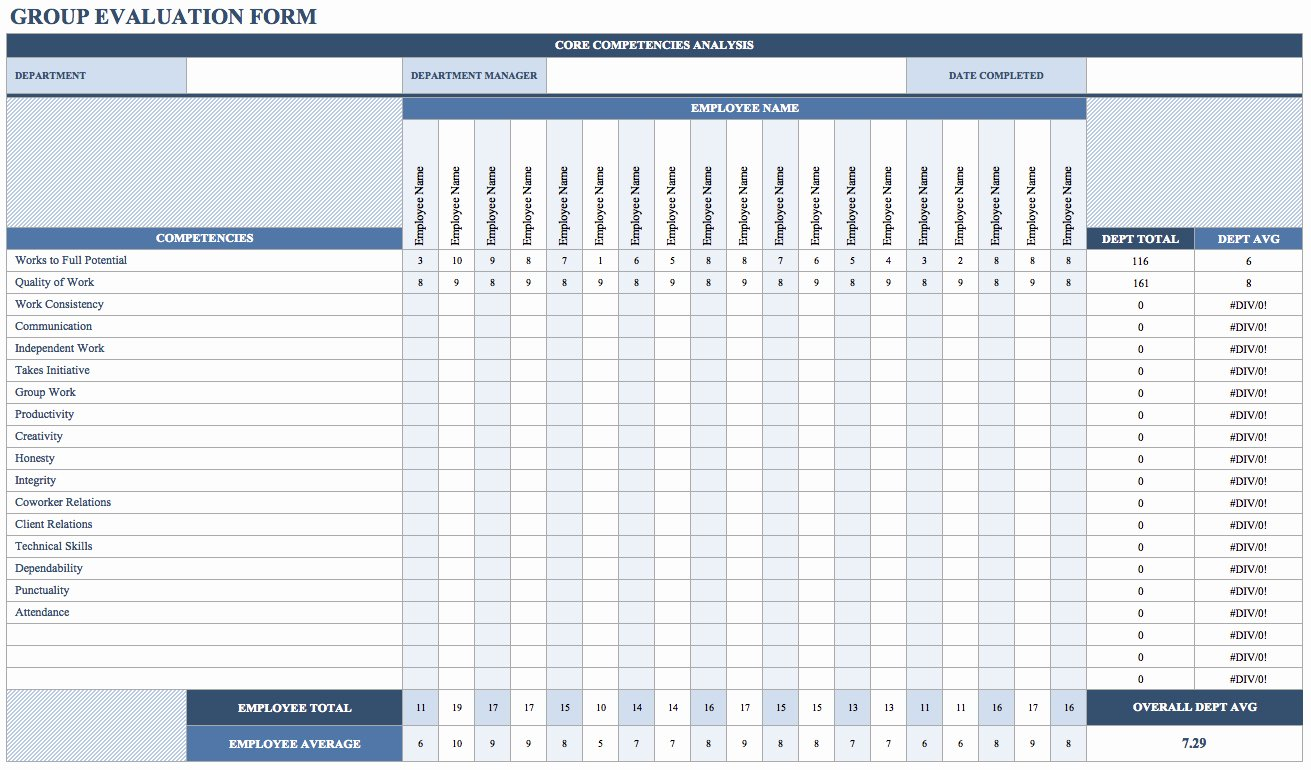Employee Performance Evaluation Template Luxury Employee Evaluation forms Templates