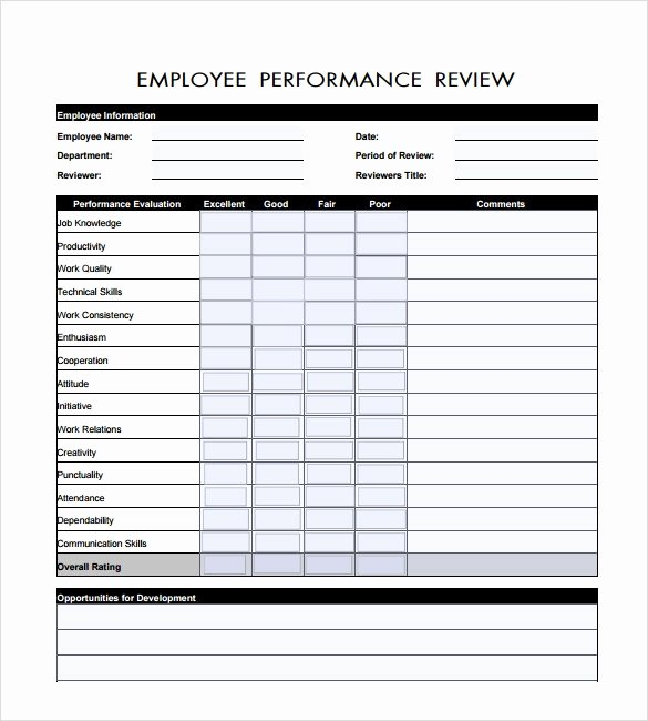 Employee Performance Evaluation Template New Sample Employee Review Template 6 Documents In Pdf Word