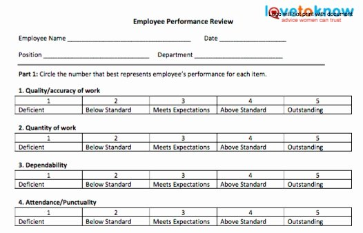 Employee Performance Evaluation Template Unique Employee Performance Review Template