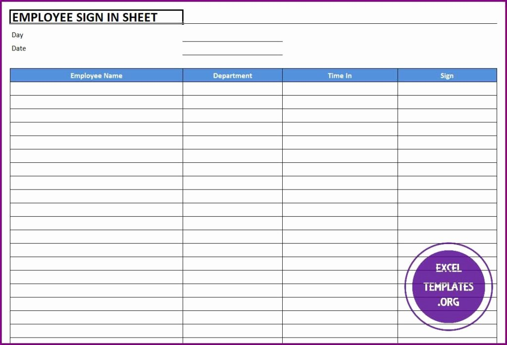 Employee Sign In Sheets Fresh Employee Sign In Sheet Template Excel Templates