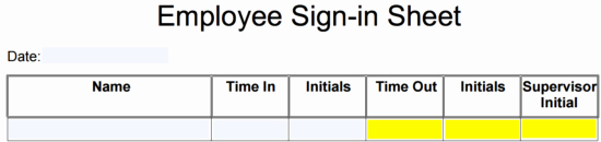 Employee Sign In Sheets Inspirational Employee Sign In Sheet Template