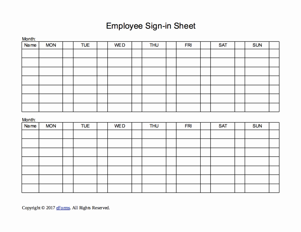 Employee Sign In Sheets Luxury Two Week Employee Sign In Sheet Template